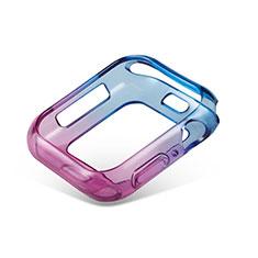 Custodia Silicone Trasparente Ultra Sottile Cover Morbida Sfumato G01 per Apple iWatch 5 44mm Blu