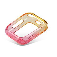 Custodia Silicone Trasparente Ultra Sottile Cover Morbida Sfumato G01 per Apple iWatch 5 44mm Rosa