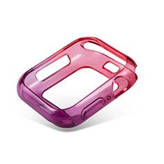 Custodia Silicone Trasparente Ultra Sottile Cover Morbida Sfumato G01 per Apple iWatch 5 44mm Rosso