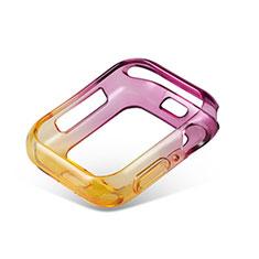 Custodia Silicone Trasparente Ultra Sottile Cover Morbida Sfumato G01 per Apple iWatch 5 44mm Viola