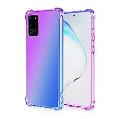 Custodia Silicone Trasparente Ultra Sottile Cover Morbida Sfumato G01 per Samsung Galaxy S20 Ultra 5G Viola