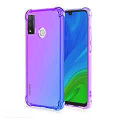 Custodia Silicone Trasparente Ultra Sottile Cover Morbida Sfumato H01 per Huawei P Smart (2020) Blu