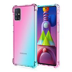 Custodia Silicone Trasparente Ultra Sottile Cover Morbida Sfumato per Samsung Galaxy M51 Ciano