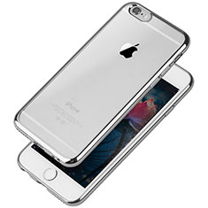 Custodia Silicone Trasparente Ultra Sottile Cover Morbida T08 per Apple iPhone 6 Argento