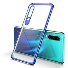 Custodia Silicone Trasparente Ultra Sottile Cover Morbida U01 per Huawei P30 Blu
