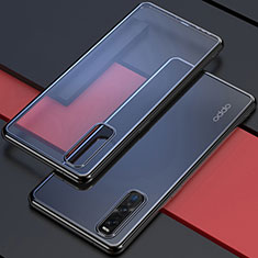 Custodia Silicone Trasparente Ultra Sottile Cover Morbida U01 per Oppo Find X2 Pro Nero