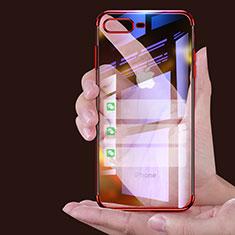 Custodia Silicone Trasparente Ultra Sottile Morbida A06 per Apple iPhone 8 Plus Rosso