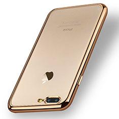 Custodia Silicone Trasparente Ultra Sottile Morbida A08 per Apple iPhone 7 Plus Oro