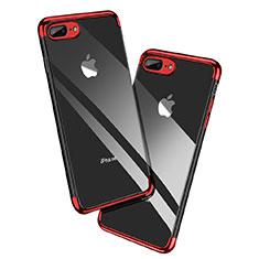 Custodia Silicone Trasparente Ultra Sottile Morbida A12 per Apple iPhone 7 Plus Rosso