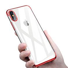 Custodia Silicone Trasparente Ultra Sottile Morbida C16 per Apple iPhone Xs Rosso