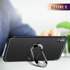 Custodia Silicone Trasparente Ultra Sottile Morbida con Anello Supporto R01 per Apple iPhone Xs Max Nero