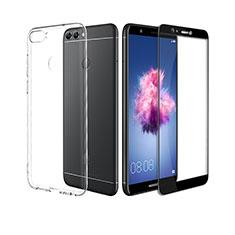 Custodia Silicone Trasparente Ultra Sottile Morbida con Pellicola Protettiva per Huawei Enjoy 7S Nero