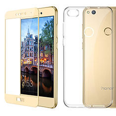 Custodia Silicone Trasparente Ultra Sottile Morbida con Pellicola Protettiva per Huawei GR3 (2017) Oro