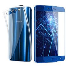 Custodia Silicone Trasparente Ultra Sottile Morbida con Pellicola Protettiva per Huawei Honor 9 Blu