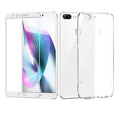 Custodia Silicone Trasparente Ultra Sottile Morbida con Pellicola Protettiva per Huawei Honor 9 Lite Bianco
