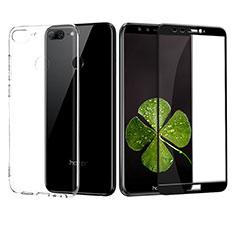 Custodia Silicone Trasparente Ultra Sottile Morbida con Pellicola Protettiva per Huawei Honor 9 Lite Nero