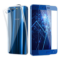 Custodia Silicone Trasparente Ultra Sottile Morbida con Pellicola Protettiva per Huawei Honor 9 Premium Blu