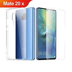 Custodia Silicone Trasparente Ultra Sottile Morbida con Pellicola Protettiva per Huawei Mate 20 X 5G Chiaro