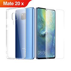 Custodia Silicone Trasparente Ultra Sottile Morbida con Pellicola Protettiva per Huawei Mate 20 X Chiaro