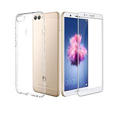 Custodia Silicone Trasparente Ultra Sottile Morbida con Pellicola Protettiva per Huawei P Smart Bianco