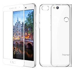 Custodia Silicone Trasparente Ultra Sottile Morbida con Pellicola Protettiva per Huawei P8 Lite (2017) Bianco