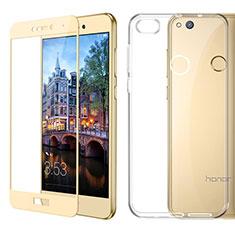 Custodia Silicone Trasparente Ultra Sottile Morbida con Pellicola Protettiva per Huawei P9 Lite (2017) Oro