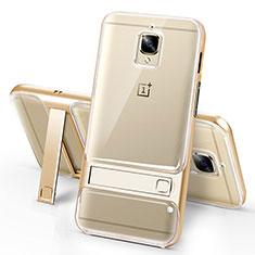 Custodia Silicone Trasparente Ultra Sottile Morbida con Supporto per OnePlus 3 Oro