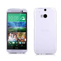 Custodia Silicone Trasparente Ultra Sottile Morbida per HTC One M8 Bianco