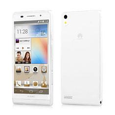 Custodia Silicone Trasparente Ultra Sottile Morbida per Huawei Ascend P6 Bianco