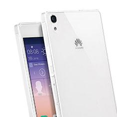 Custodia Silicone Trasparente Ultra Sottile Morbida per Huawei Ascend P7 Bianco