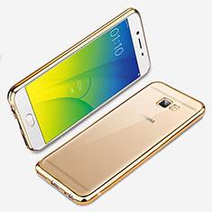 Custodia Silicone Trasparente Ultra Sottile Morbida R01 per Samsung Galaxy J7 Prime Oro