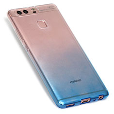 Custodia Silicone Trasparente Ultra Sottile Morbida Sfumato G01 per Huawei P9 Blu