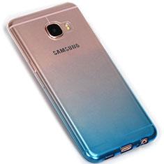 Custodia Silicone Trasparente Ultra Sottile Morbida Sfumato G01 per Samsung Galaxy C7 SM-C7000 Blu