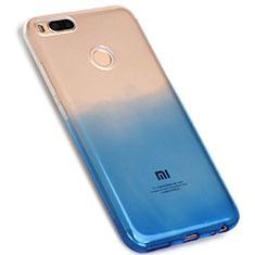 Custodia Silicone Trasparente Ultra Sottile Morbida Sfumato G01 per Xiaomi Mi A1 Blu