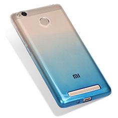 Custodia Silicone Trasparente Ultra Sottile Morbida Sfumato G01 per Xiaomi Redmi 3 High Edition Blu