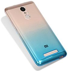 Custodia Silicone Trasparente Ultra Sottile Morbida Sfumato G01 per Xiaomi Redmi Note 3 Blu