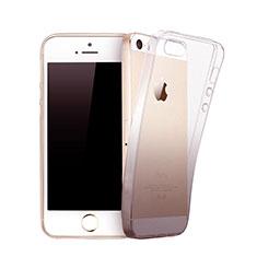 Custodia Silicone Trasparente Ultra Sottile Morbida Sfumato per Apple iPhone 5 Grigio