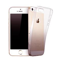 Custodia Silicone Trasparente Ultra Sottile Morbida Sfumato per Apple iPhone 5S Grigio