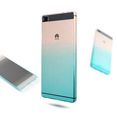 Custodia Silicone Trasparente Ultra Sottile Morbida Sfumato per Huawei P8 Blu