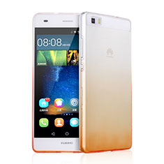 Custodia Silicone Trasparente Ultra Sottile Morbida Sfumato per Huawei P8 Lite Arancione