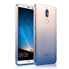 Custodia Silicone Trasparente Ultra Sottile Morbida Sfumato per Huawei Rhone Blu