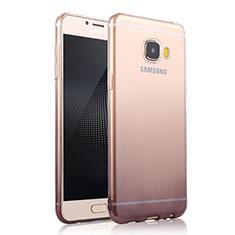 Custodia Silicone Trasparente Ultra Sottile Morbida Sfumato per Samsung Galaxy C7 SM-C7000 Grigio