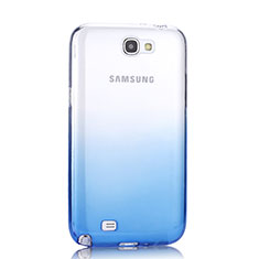 Custodia Silicone Trasparente Ultra Sottile Morbida Sfumato per Samsung Galaxy Note 2 N7100 N7105 Blu