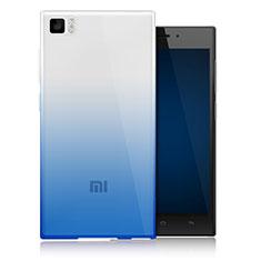 Custodia Silicone Trasparente Ultra Sottile Morbida Sfumato per Xiaomi Mi 3 Blu