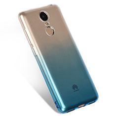 Custodia Silicone Trasparente Ultra Sottile Morbida Sfumato Q01 per Huawei Enjoy 6 Blu