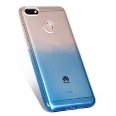 Custodia Silicone Trasparente Ultra Sottile Morbida Sfumato Q01 per Huawei Enjoy 7 Blu