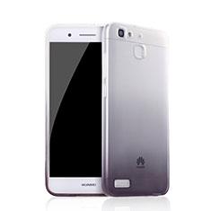 Custodia Silicone Trasparente Ultra Sottile Morbida Sfumato Q01 per Huawei P8 Lite Smart Nero