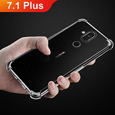 Custodia Silicone Trasparente Ultra Sottile Morbida T02 per Nokia 7.1 Plus Chiaro