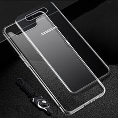 Custodia Silicone Trasparente Ultra Sottile Morbida T02 per Samsung Galaxy A80 Chiaro
