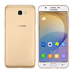Custodia Silicone Trasparente Ultra Sottile Morbida T02 per Samsung Galaxy On7 (2016) G6100 Oro